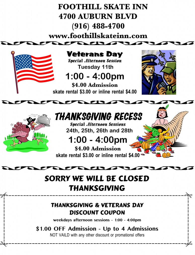 Veterans day &Thanksgiving recess